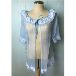 Vtg Women's Sheer Nylon Lace Peignoir Blue M